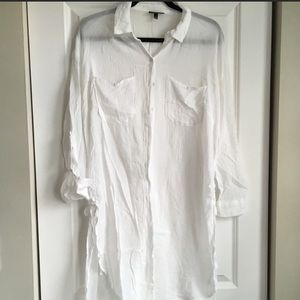 White Gauzy Topshop Long Sleeve Tunic